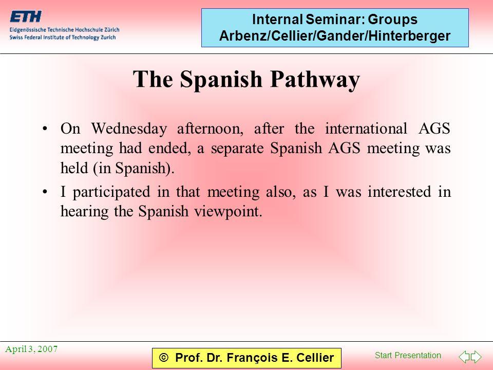 Start Presentation © Prof. Dr. François E. Cellier Internal Seminar: Groups Arbenz/Cellier/Gander/Hinterberger April 3, 2007 The Spanish Pathway On We
