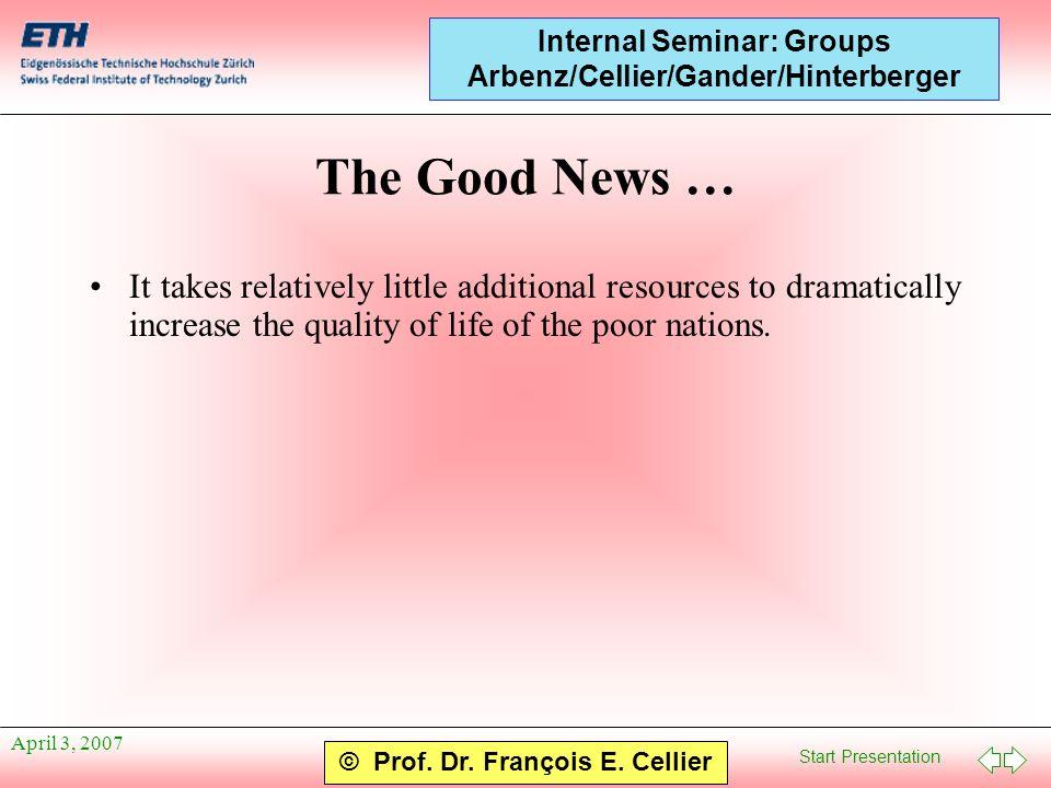 Start Presentation © Prof. Dr. François E. Cellier Internal Seminar: Groups Arbenz/Cellier/Gander/Hinterberger April 3, 2007 The Good News … It takes