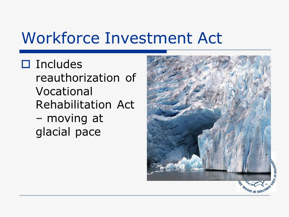 Workforce Investment Act  Includes reauthorization of Vocational Rehabilitation Act – moving at glacial pace