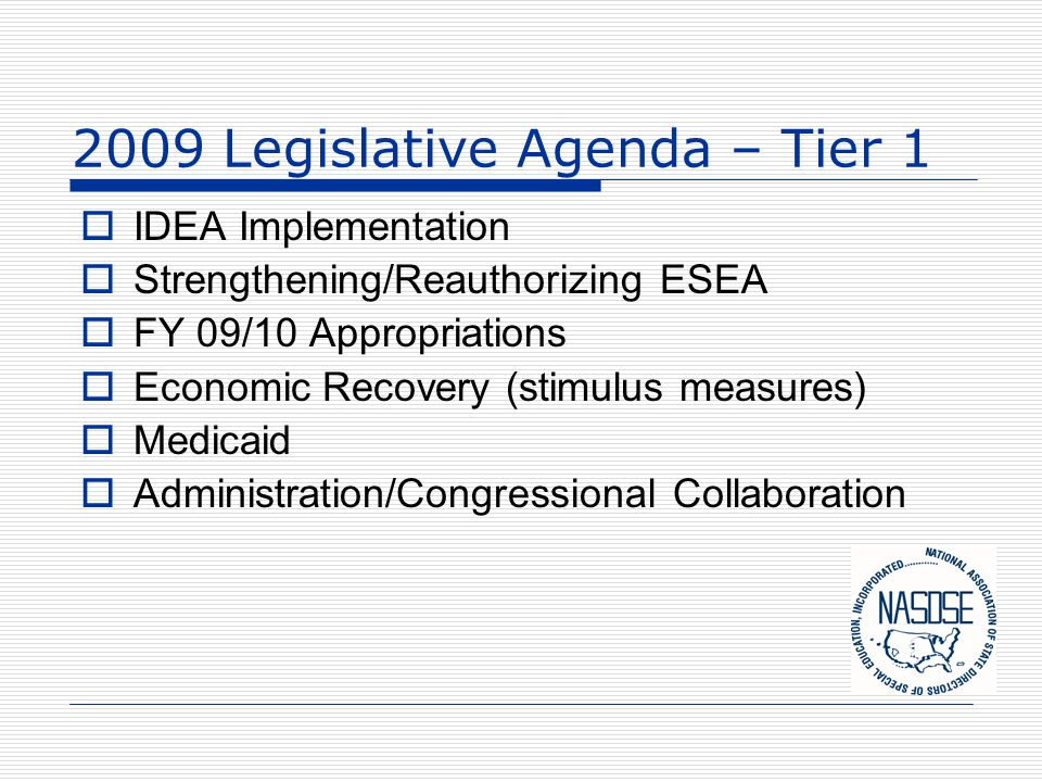 2009 Legislative Agenda – Tier 1  IDEA Implementation  Strengthening/Reauthorizing ESEA  FY 09/10 Appropriations  Economic Recovery (stimulus meas