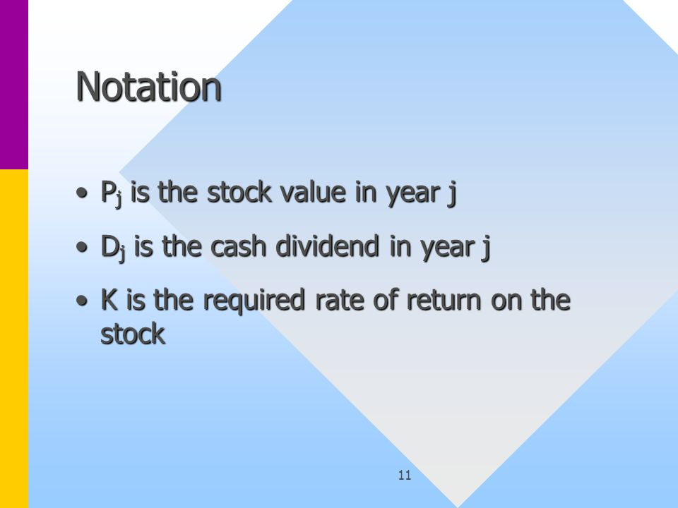 11 Notation P j is the stock value in year jP j is the stock value in year j D j is the cash dividend in year jD j is the cash dividend in year j K is the required rate of return on the stockK is the required rate of return on the stock