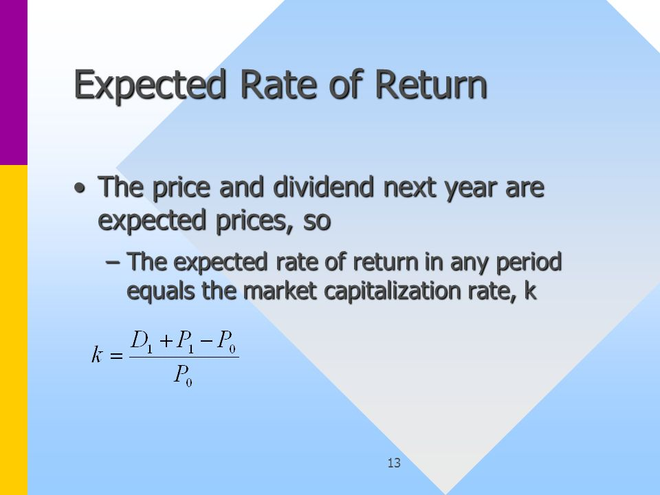 13 Expected Rate of Return The price and dividend next year are expected prices, soThe price and dividend next year are expected prices, so –The expected rate of return in any period equals the market capitalization rate, k