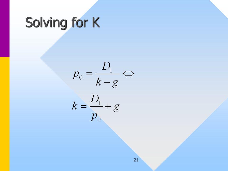 21 Solving for K