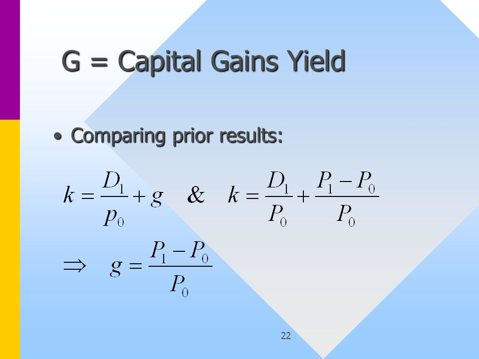 22 G = Capital Gains Yield G = Capital Gains Yield Comparing prior results:Comparing prior results: