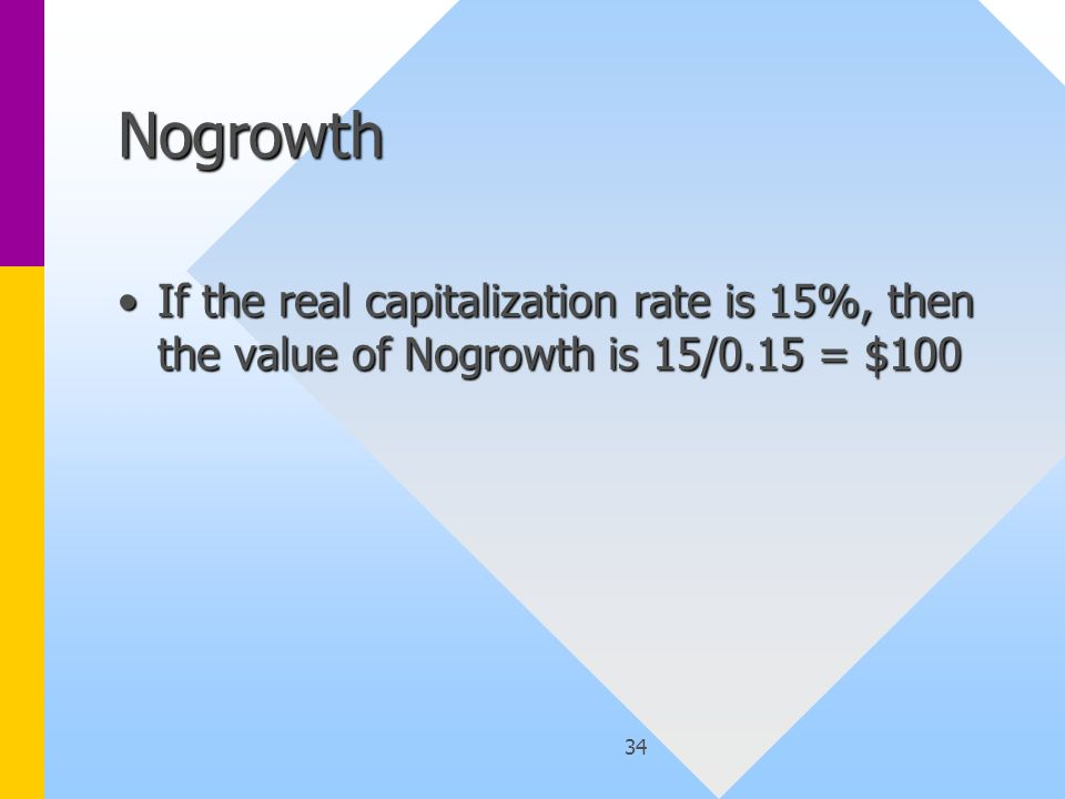 34 Nogrowth If the real capitalization rate is 15%, then the value of Nogrowth is 15/0.15 = $100If the real capitalization rate is 15%, then the value of Nogrowth is 15/0.15 = $100