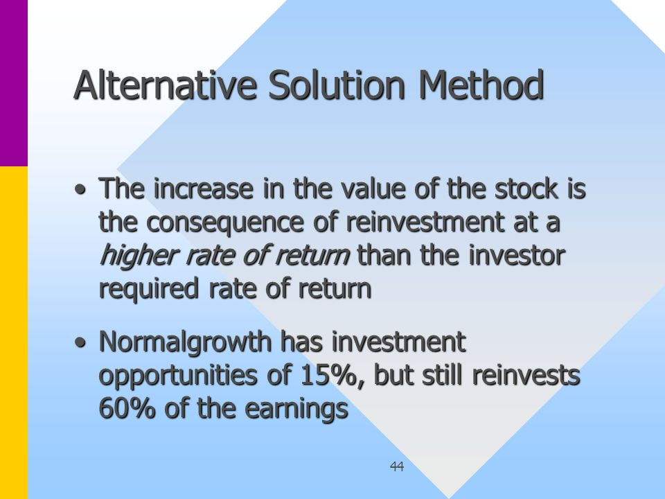 44 Alternative Solution Method The increase in the value of the stock is the consequence of reinvestment at a higher rate of return than the investor required rate of returnThe increase in the value of the stock is the consequence of reinvestment at a higher rate of return than the investor required rate of return Normalgrowth has investment opportunities of 15%, but still reinvests 60% of the earningsNormalgrowth has investment opportunities of 15%, but still reinvests 60% of the earnings