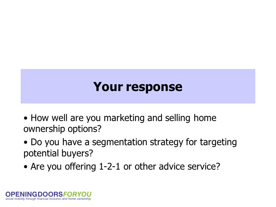 Your response How well are you marketing and selling home ownership options.