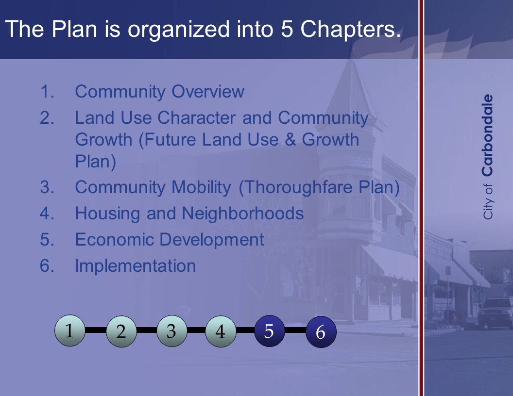 1.Community Overview 2.Land Use Character and Community Growth (Future Land Use & Growth Plan) 3.Community Mobility (Thoroughfare Plan) 4.Housing and Neighborhoods 5.Economic Development 6.Implementation 1 2 3 4 5 6 The Plan is organized into 5 Chapters.