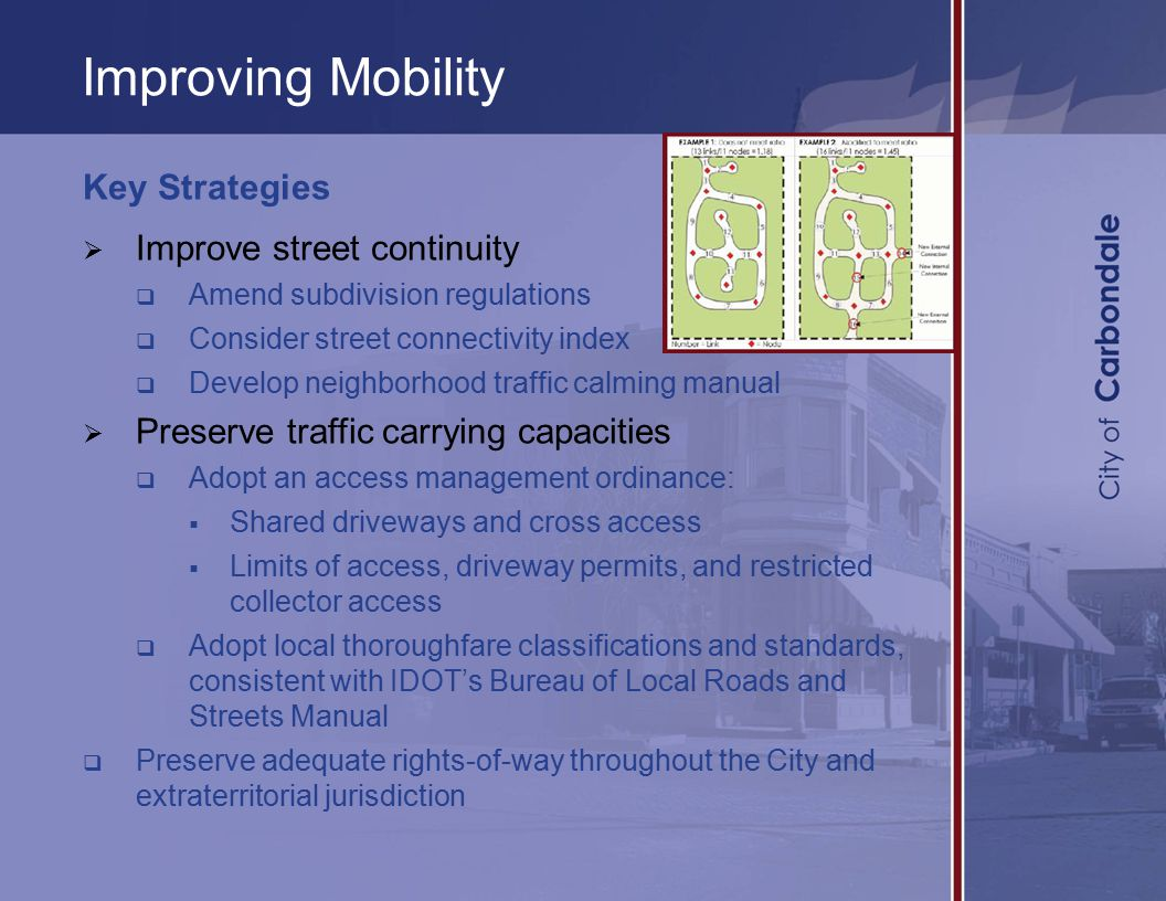 Improving Mobility Key Strategies  Improve street continuity  Amend subdivision regulations  Consider street connectivity index  Develop neighborhood traffic calming manual  Preserve traffic carrying capacities  Adopt an access management ordinance:  Shared driveways and cross access  Limits of access, driveway permits, and restricted collector access  Adopt local thoroughfare classifications and standards, consistent with IDOT's Bureau of Local Roads and Streets Manual  Preserve adequate rights-of-way throughout the City and extraterritorial jurisdiction