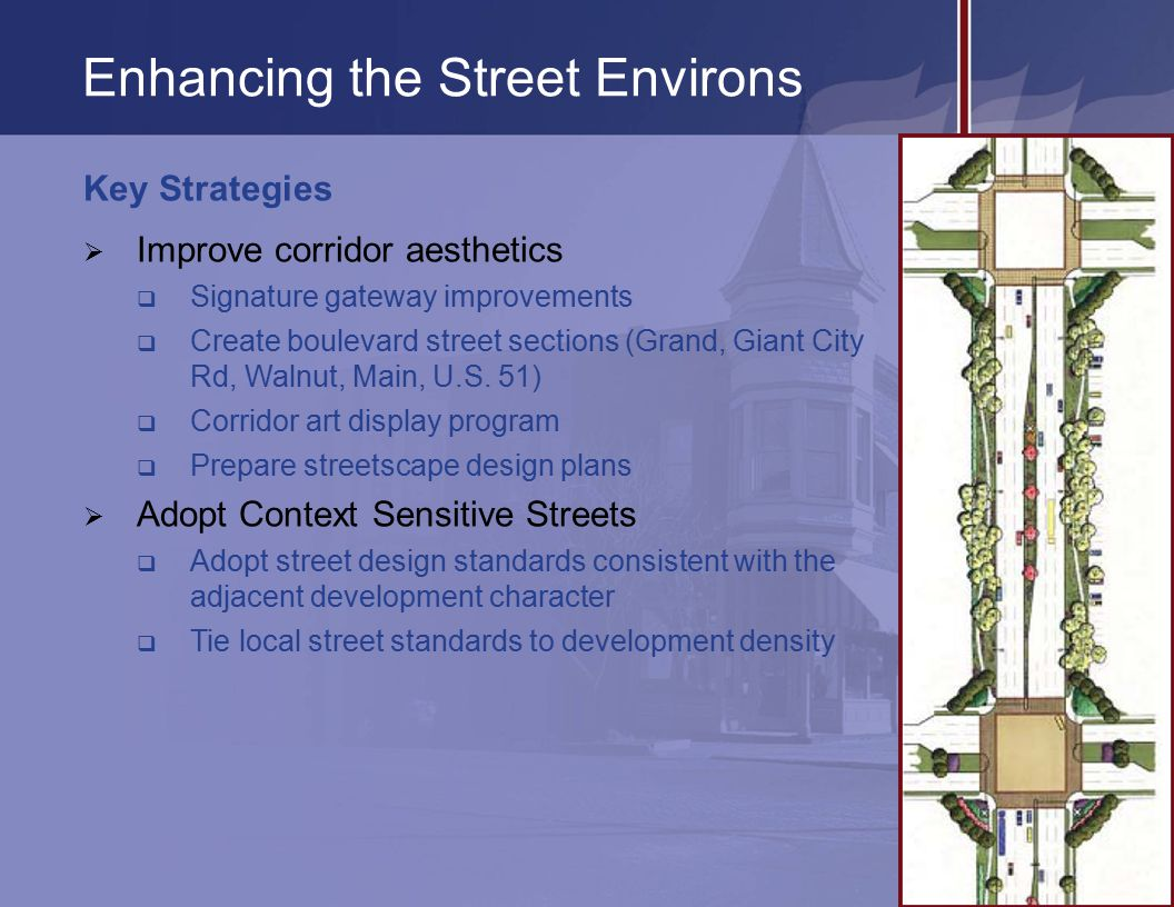 Enhancing the Street Environs Key Strategies  Improve corridor aesthetics  Signature gateway improvements  Create boulevard street sections (Grand, Giant City Rd, Walnut, Main, U.S.