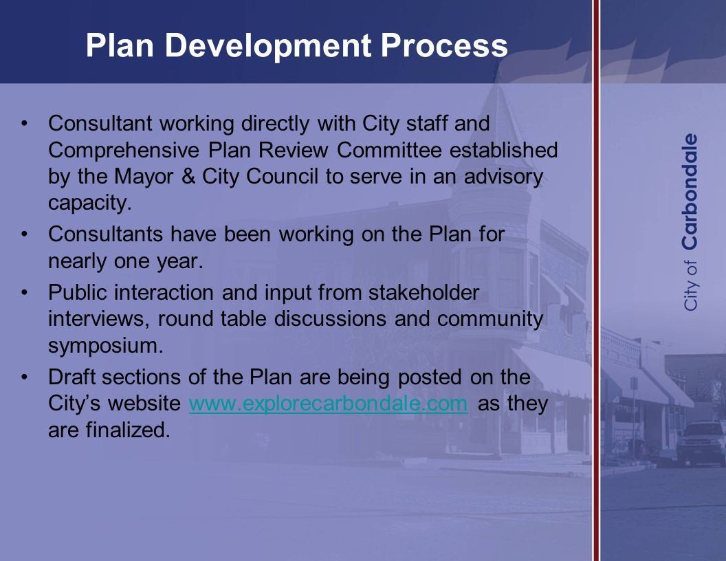 Plan Development Process Consultant working directly with City staff and Comprehensive Plan Review Committee established by the Mayor & City Council to serve in an advisory capacity.