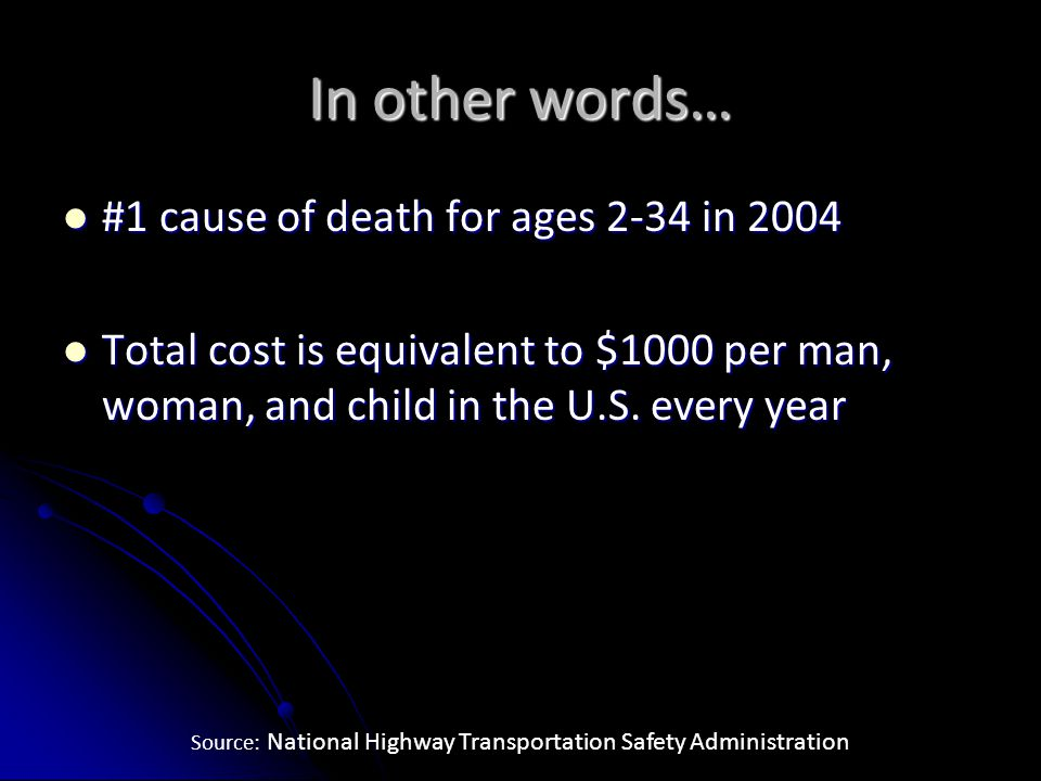 In other words… #1 cause of death for ages 2-34 in 2004 #1 cause of death for ages 2-34 in 2004 Total cost is equivalent to $1000 per man, woman, and child in the U.S.