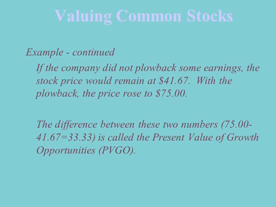 Valuing Common Stocks Example - continued If the company did not plowback some earnings, the stock price would remain at $41.67.