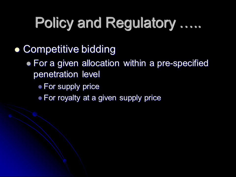 Policy and Regulatory …..