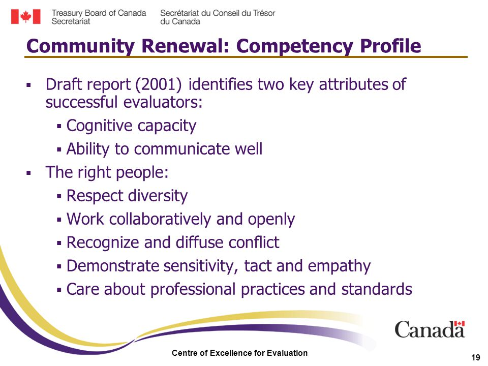 Centre of Excellence for Evaluation 19  Draft report (2001) identifies two key attributes of successful evaluators:  Cognitive capacity  Ability to
