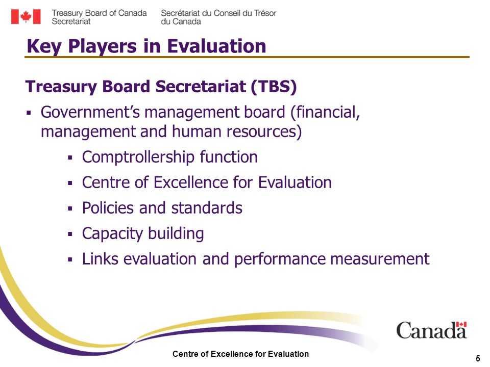 Centre of Excellence for Evaluation 16  Managers are responsible for the active monitoring of their programs  Government is committed to the public reporting of evaluations  Centre of Excellence for Evaluation created in TBS  New funding available for departments to build and meet future evaluation capacity Highlights (continued)