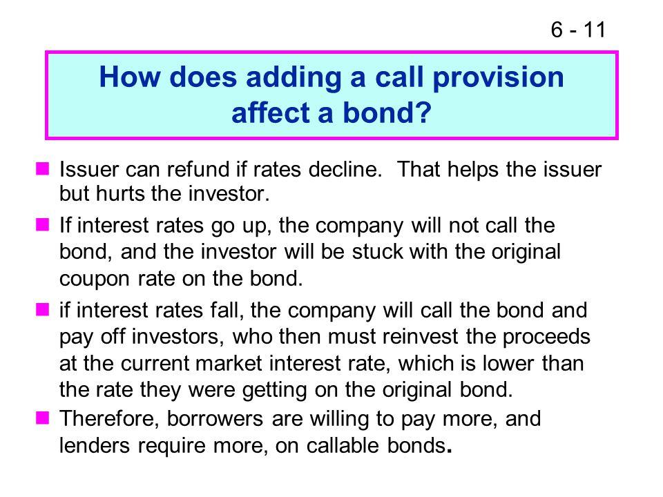 6 - 11 How does adding a call provision affect a bond.