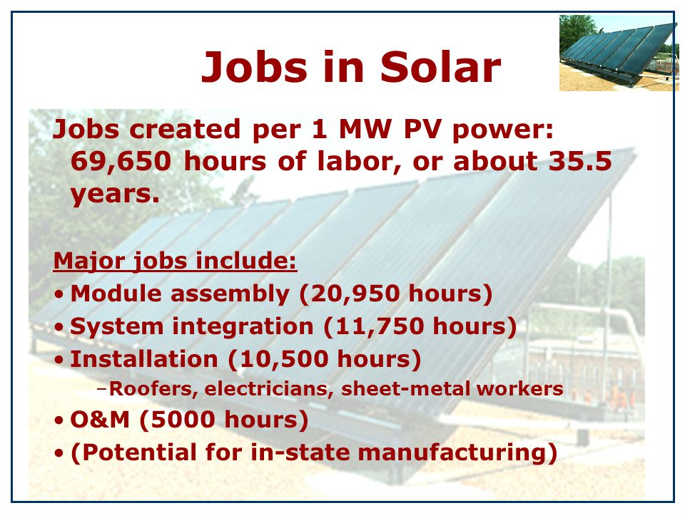 Jobs created per 1 MW PV power: 69,650 hours of labor, or about 35.5 years.