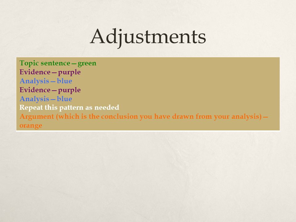 Adjustments Topic sentence—green Evidence—purple Analysis—blue Evidence—purple Analysis—blue Repeat this pattern as needed Argument (which is the conclusion you have drawn from your analysis)— orange