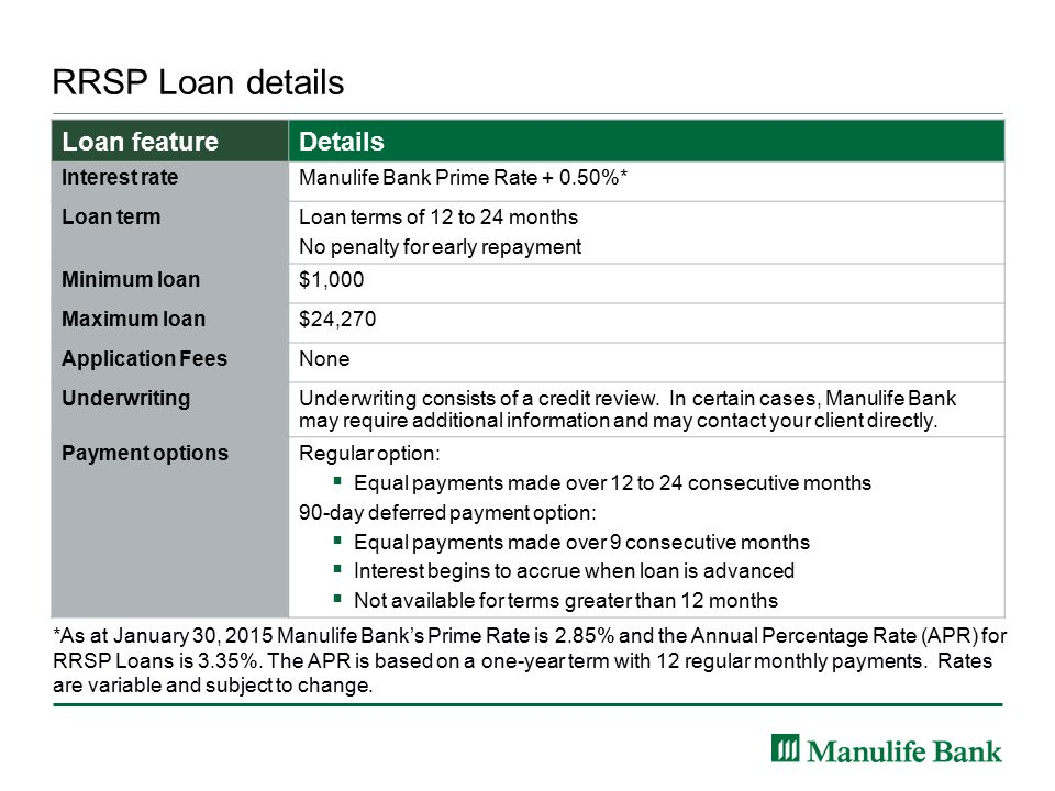 RRSP Loan details *As at January 30, 2015 Manulife Bank's Prime Rate is 2.85% and the Annual Percentage Rate (APR) for RRSP Loans is 3.35%.