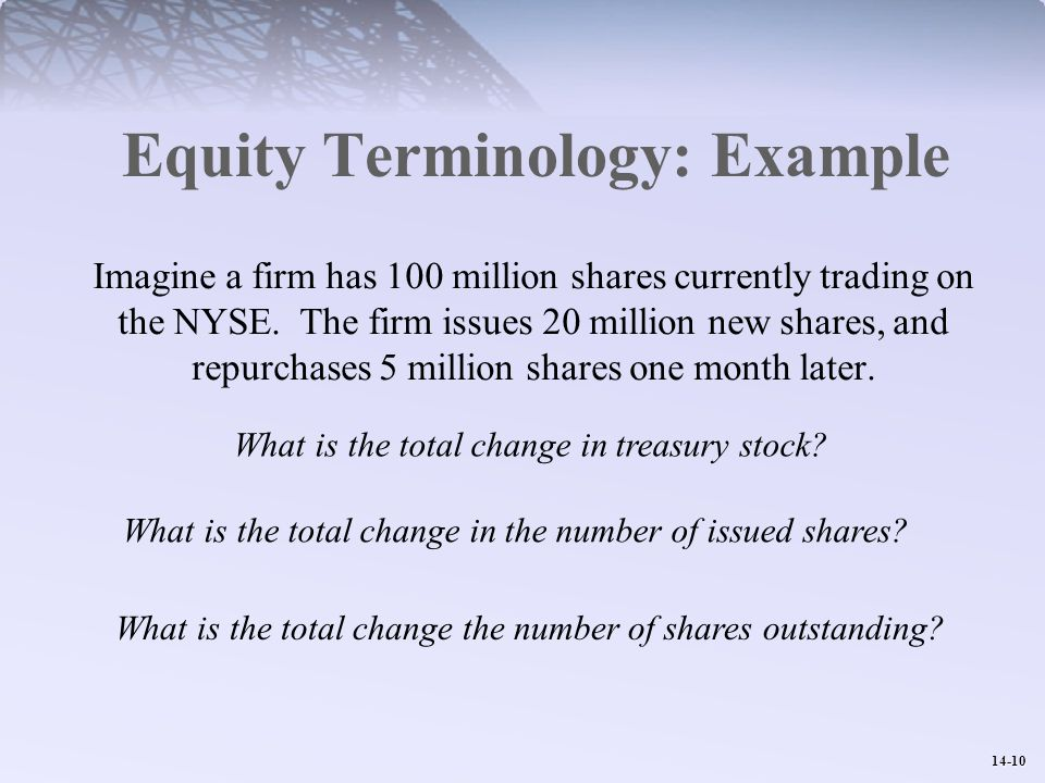 14-10 Equity Terminology: Example Imagine a firm has 100 million shares currently trading on the NYSE.