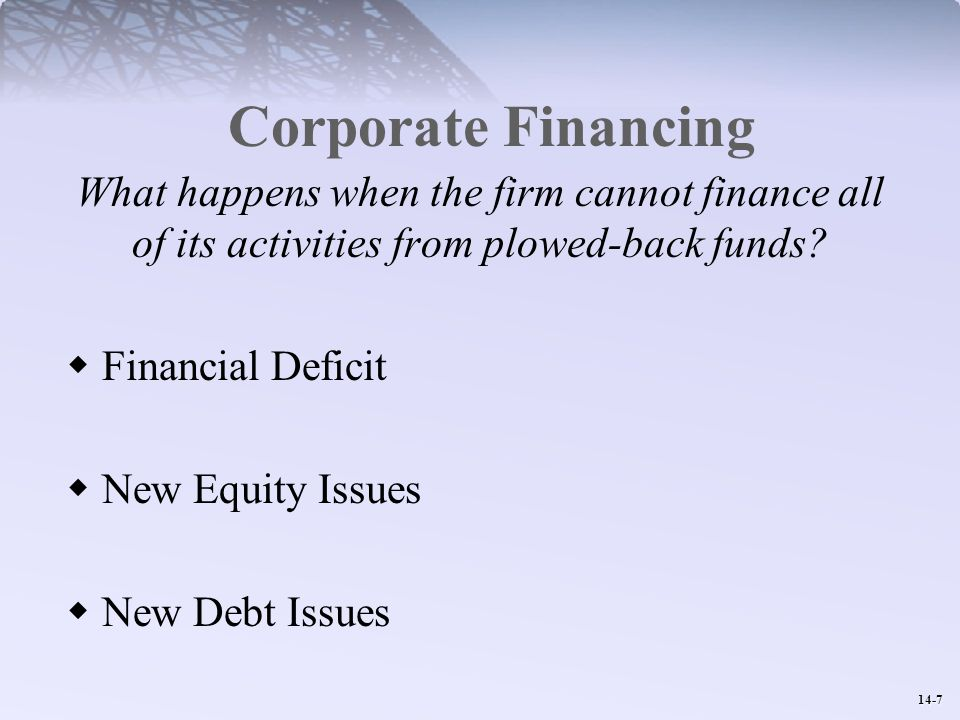 14-7 Corporate Financing What happens when the firm cannot finance all of its activities from plowed-back funds.