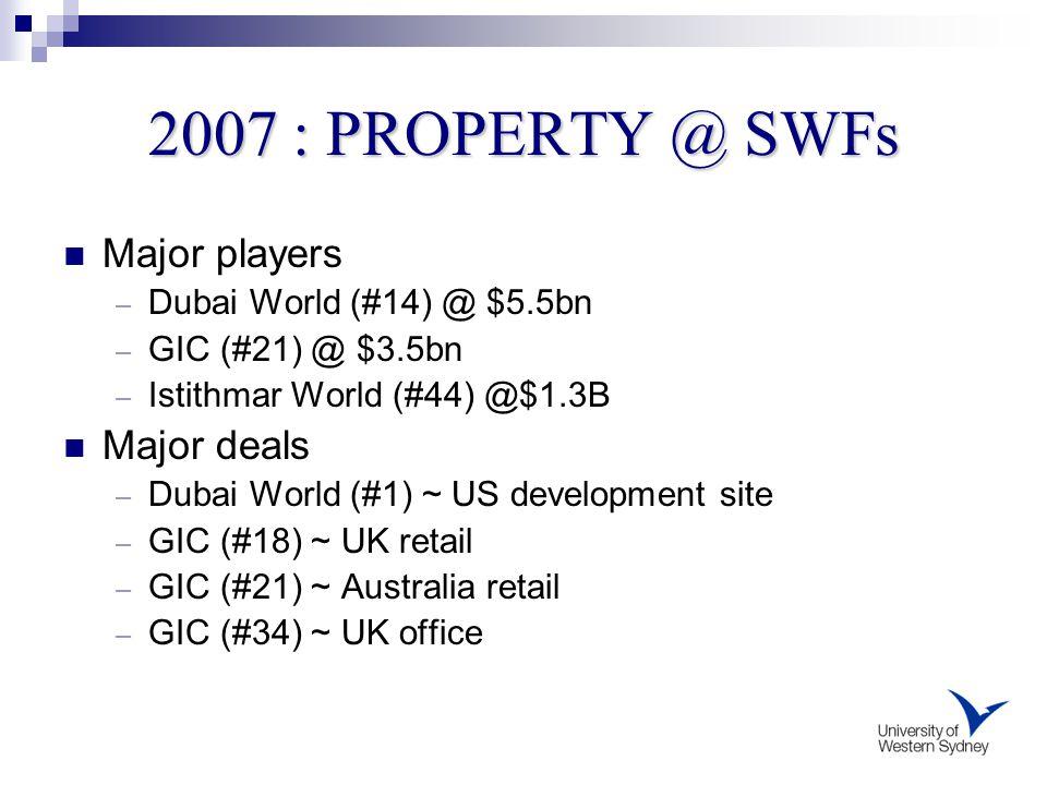 2007 : PROPERTY @ SWFs Major players – Dubai World (#14) @ $5.5bn – GIC (#21) @ $3.5bn – Istithmar World (#44) @$1.3B Major deals – Dubai World (#1) ~