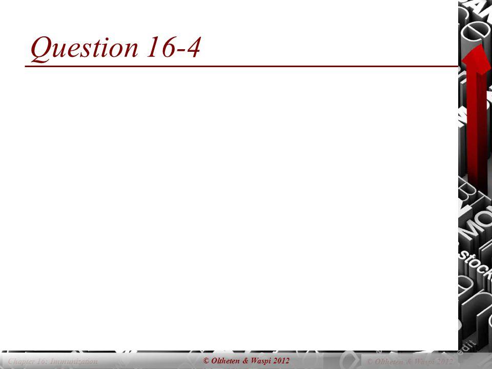Chapter 16: Immunization © Oltheten & Waspi 2012 Question 16-4 © Oltheten & Waspi 2012