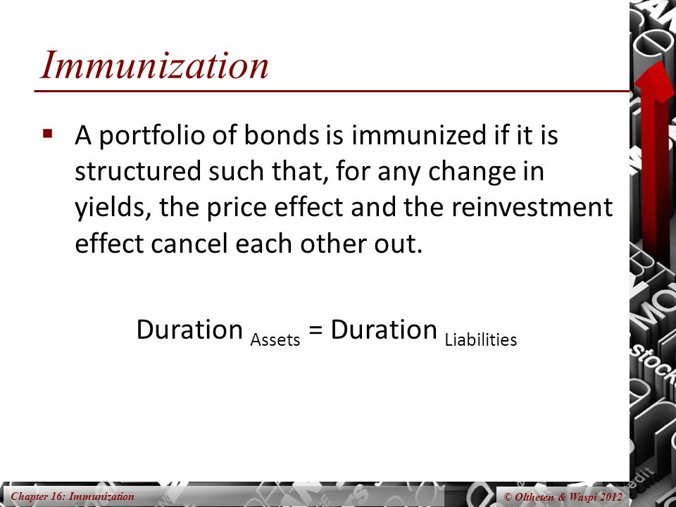 Chapter 16: Immunization © Oltheten & Waspi 2012 Immunization  A portfolio of bonds is immunized if it is structured such that, for any change in yields, the price effect and the reinvestment effect cancel each other out.