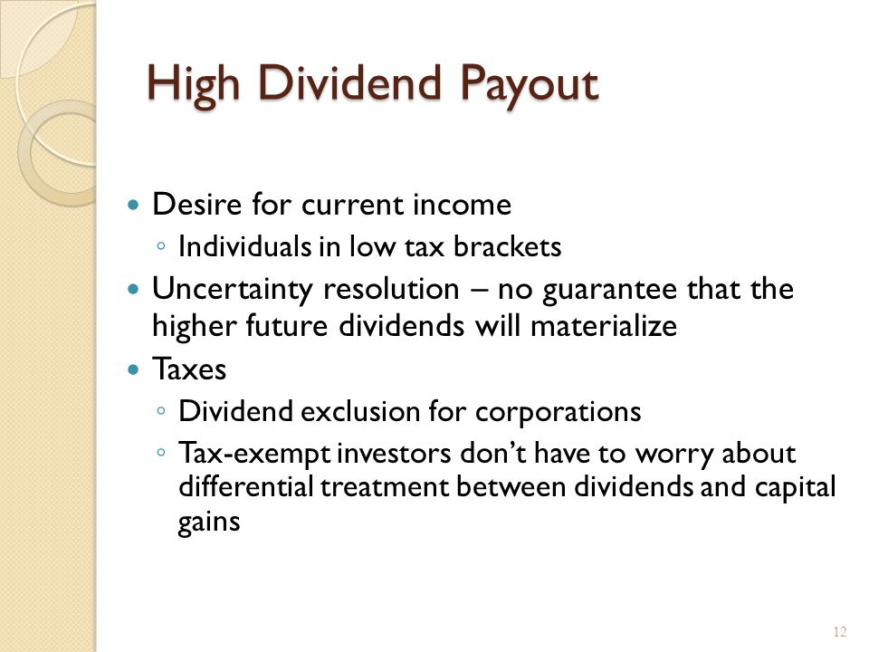 High Dividend Payout Desire for current income ◦ Individuals in low tax brackets Uncertainty resolution – no guarantee that the higher future dividend