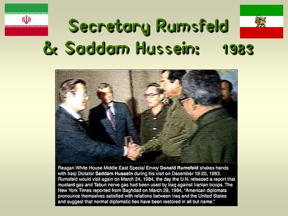 Secretary Rumsfeld & Saddam Hussein: 1983