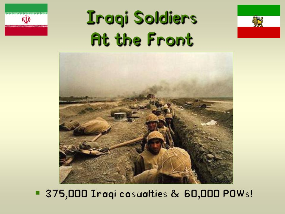 Iraqi Soldiers At the Front  375,000 Iraqi casualties & 60,000 POWs!