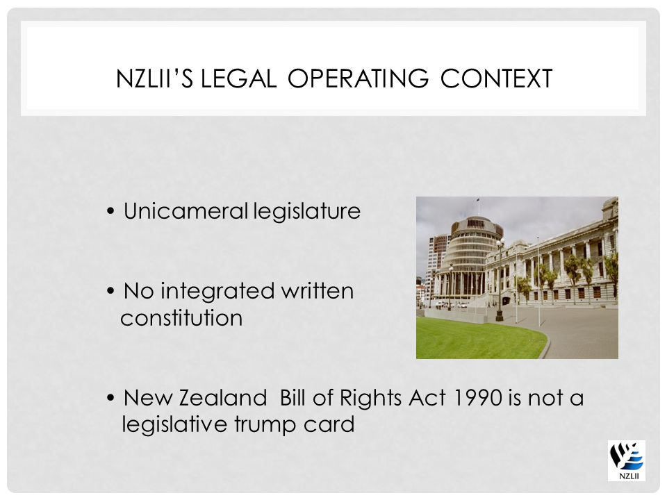 No Crown copyright Clear(ish) law concerning suppression issues in relation to legal judgments Informal arrangements with suppliers Strategic drive to encourage self management by suppliers NZLII'S PUBLISHING CONTEXT