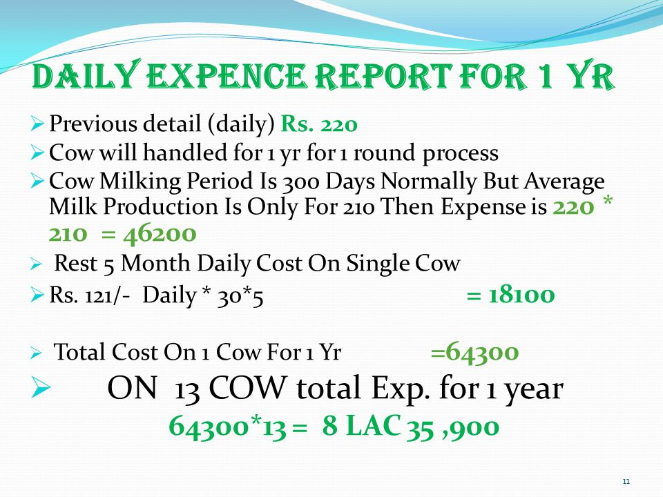 DAILY EXPENCE REPORT FOR 1 YR  Previous detail (daily) Rs.