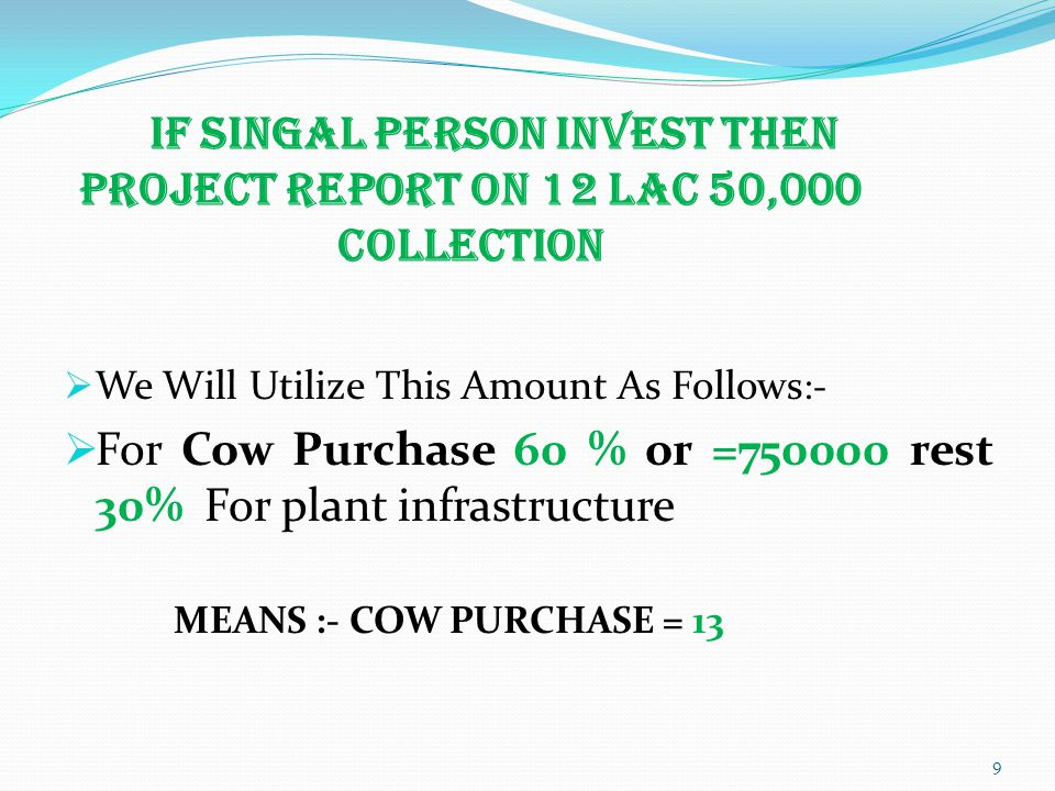 If Singal Person Invest Then Project Report On 12 Lac 50,000 Collection  We Will Utilize This Amount As Follows :-  For Cow Purchase 60 % or =750000 rest 30% For plant infrastructure MEANS :- COW PURCHASE = 13 9
