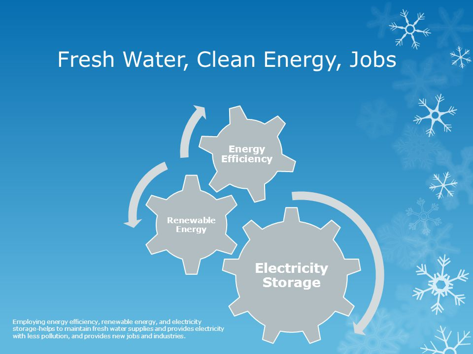 Fresh Water, Clean Energy, Jobs Electricity Storage Renewable Energy Energy Efficiency Employing energy efficiency, renewable energy, and electricity storage-helps to maintain fresh water supplies and provides electricity with less pollution, and provides new jobs and industries.
