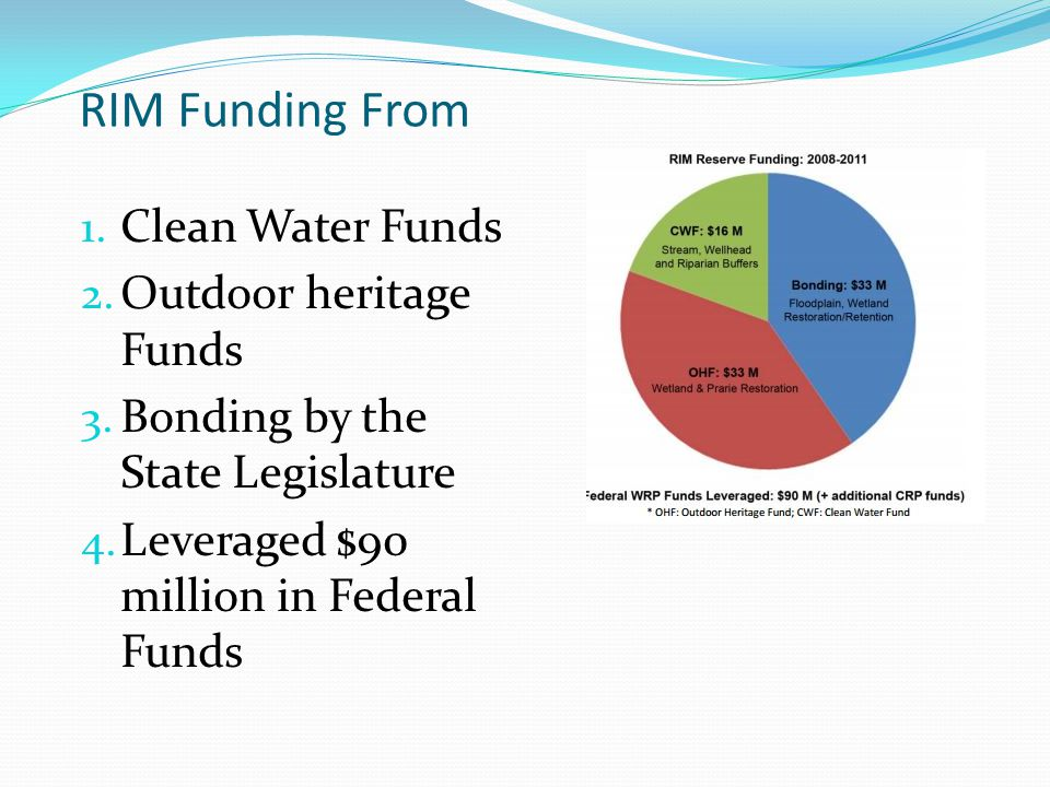 RIM Funding From 1. Clean Water Funds 2. Outdoor heritage Funds 3.