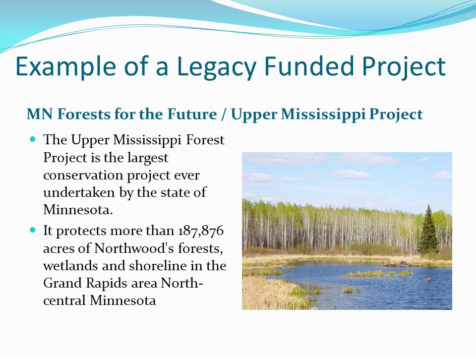 Example of a Legacy Funded Project MN Forests for the Future / Upper Mississippi Project The Upper Mississippi Forest Project is the largest conservation project ever undertaken by the state of Minnesota.