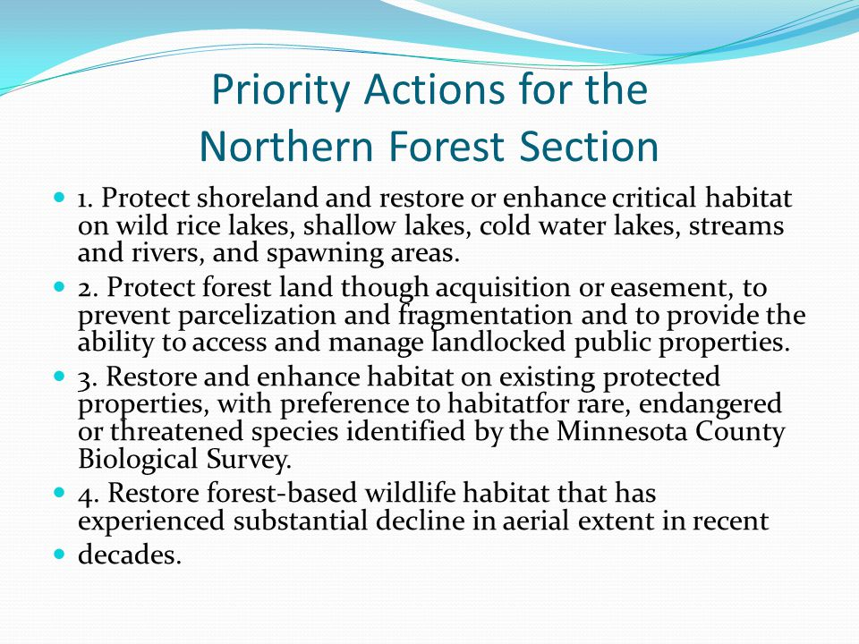 Priority Actions for the Northern Forest Section 1.