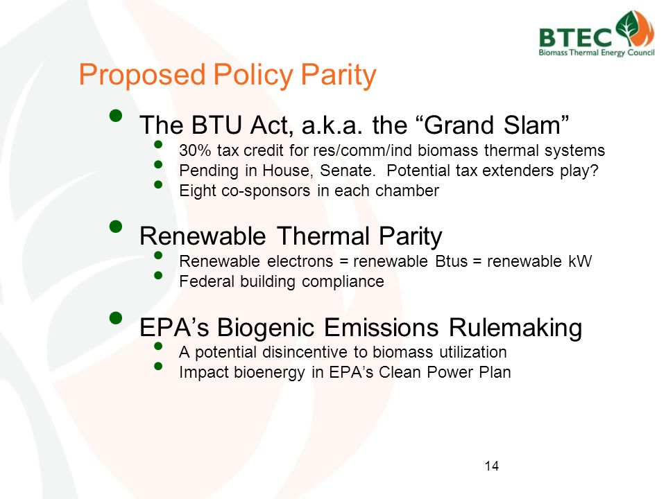 Proposed Policy Parity The BTU Act, a.k.a.