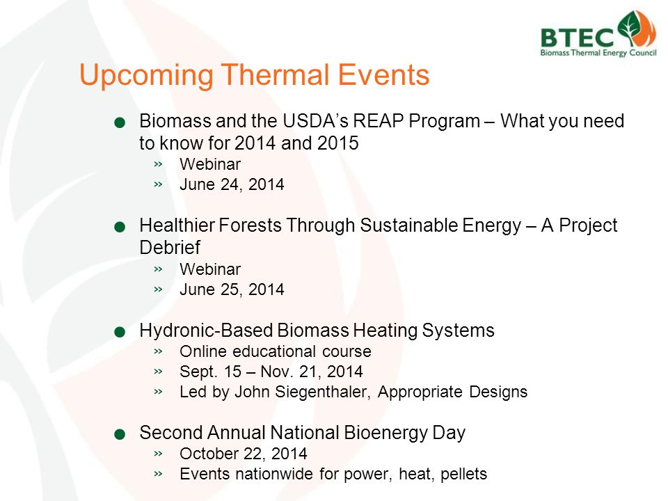 Upcoming Thermal Events.