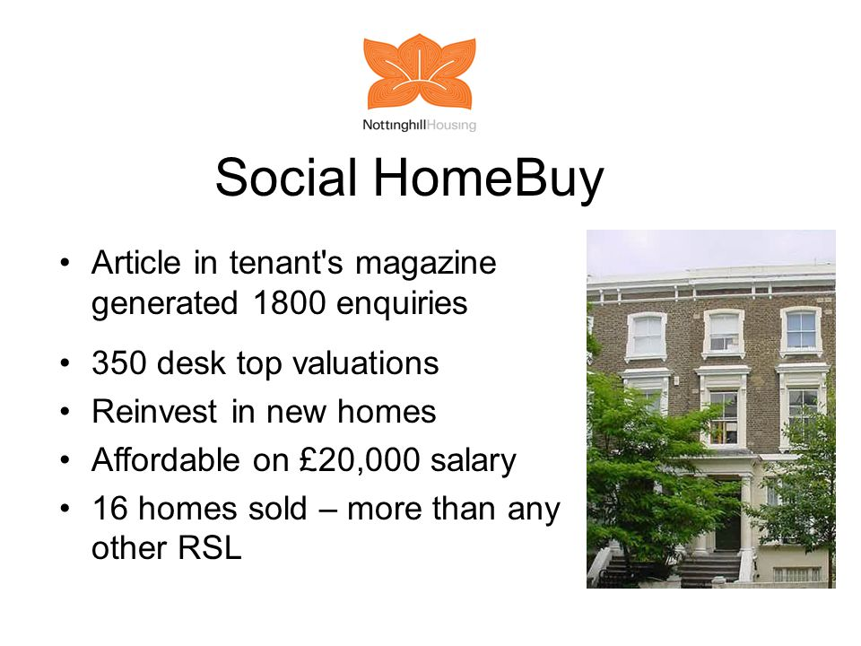 Social HomeBuy Article in tenant s magazine generated 1800 enquiries 350 desk top valuations Reinvest in new homes Affordable on £20,000 salary 16 homes sold – more than any other RSL
