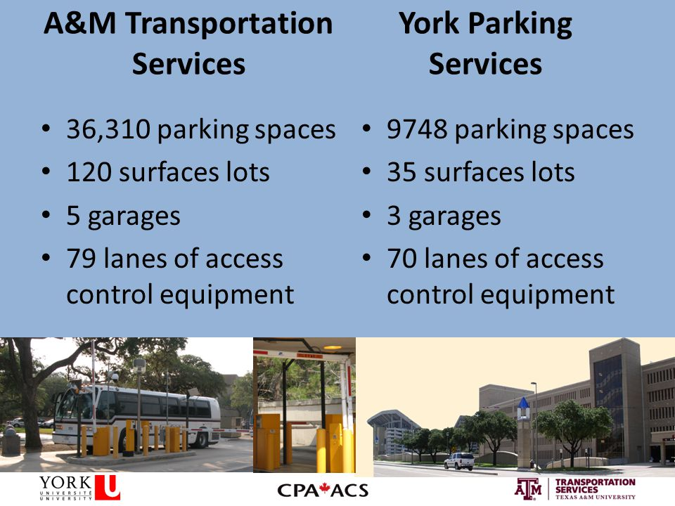 A&M Transportation Services York Parking Services 9748 parking spaces 35 surfaces lots 3 garages 70 lanes of access control equipment 36,310 parking spaces 120 surfaces lots 5 garages 79 lanes of access control equipment