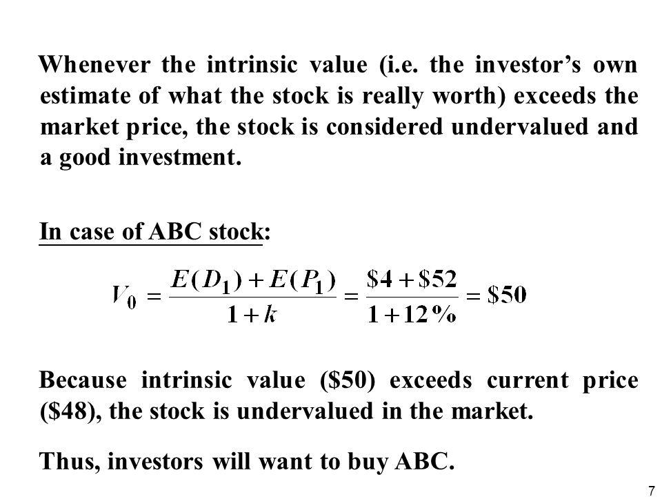 8  In market equilibrium:  market price = intrinsic value.