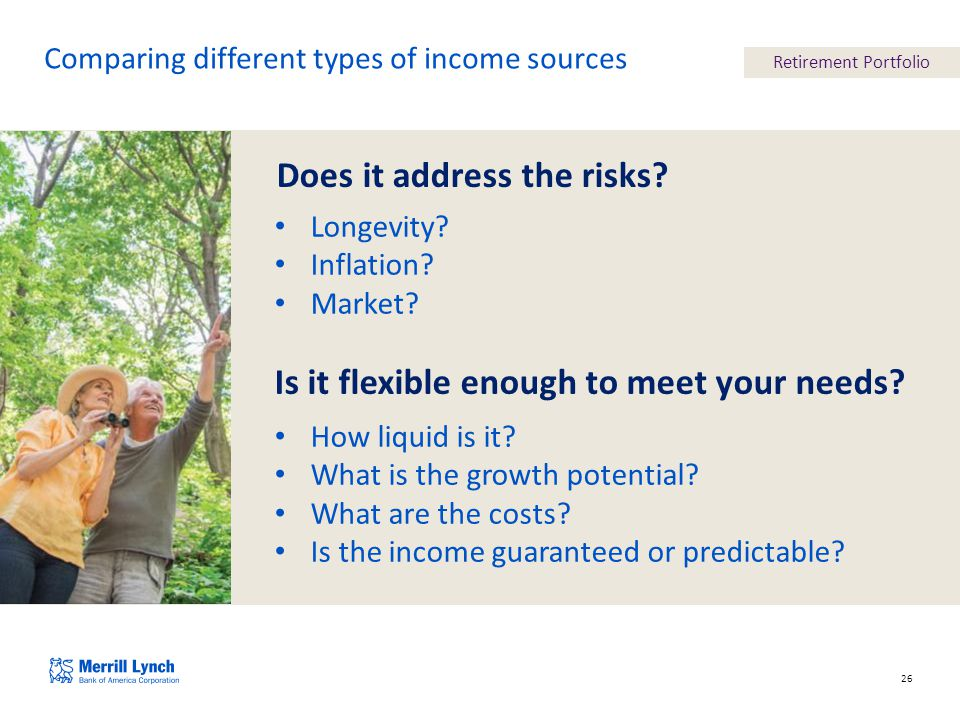 26 Comparing different types of income sources Does it address the risks.