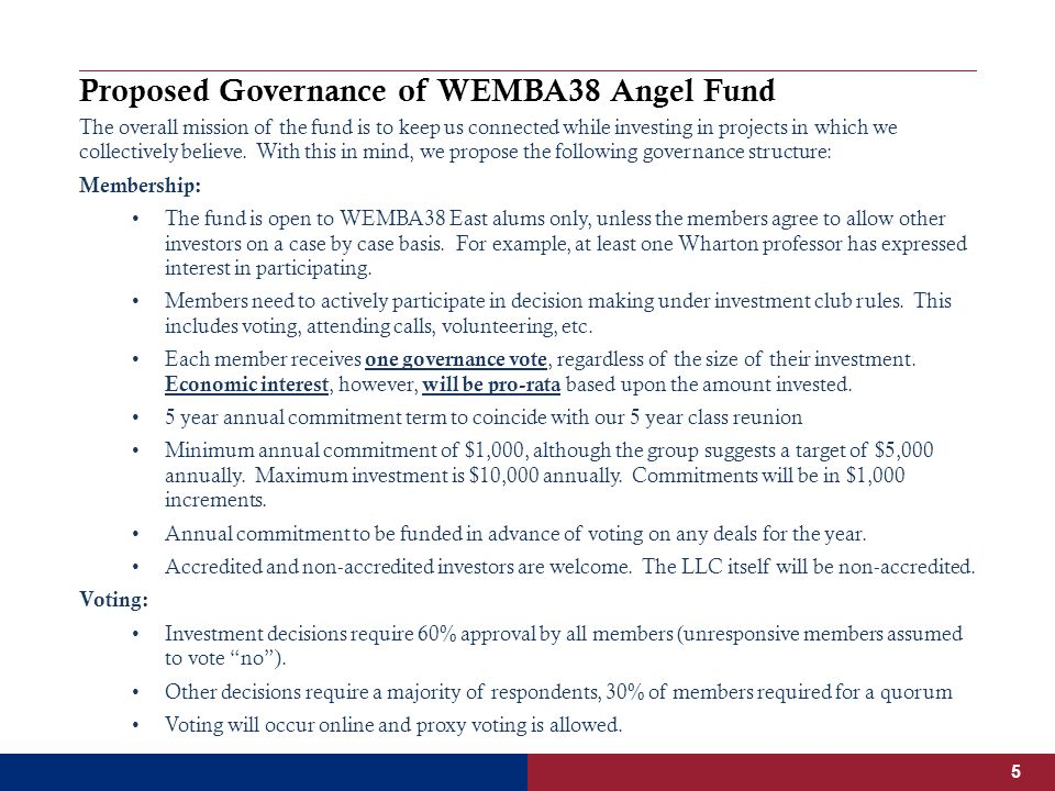 Proposed Governance of WEMBA38 Angel Fund The overall mission of the fund is to keep us connected while investing in projects in which we collectively believe.