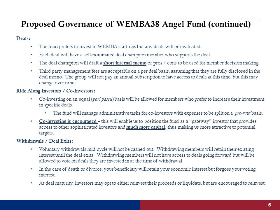 Proposed Governance of WEMBA38 Angel Fund (continued) Deals: The fund prefers to invest in WEMBA start-ups but any deals will be evaluated.
