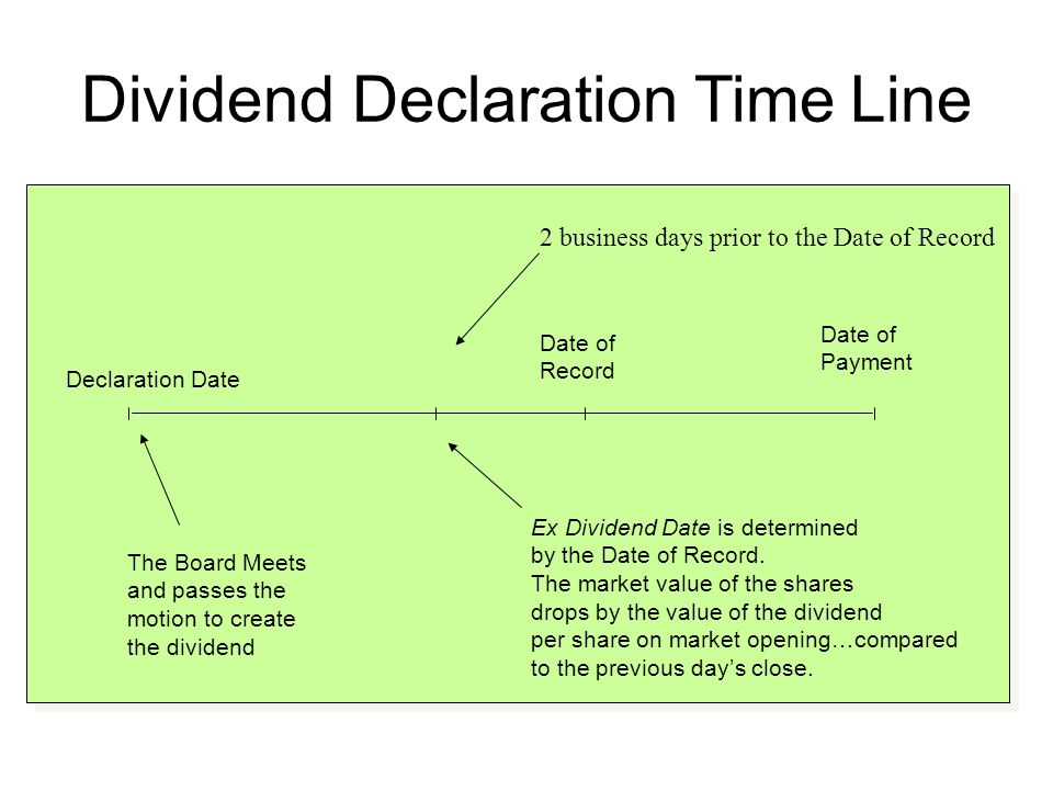 Stock Dividends Pay additional shares of stock instead of cash Increases the number of outstanding shares Small stock dividend –Less than 20 to 25% –If you own 100 shares and the company declared a 10% stock dividend, you would receive an additional 10 shares Large stock dividend – more than 20 to 25%