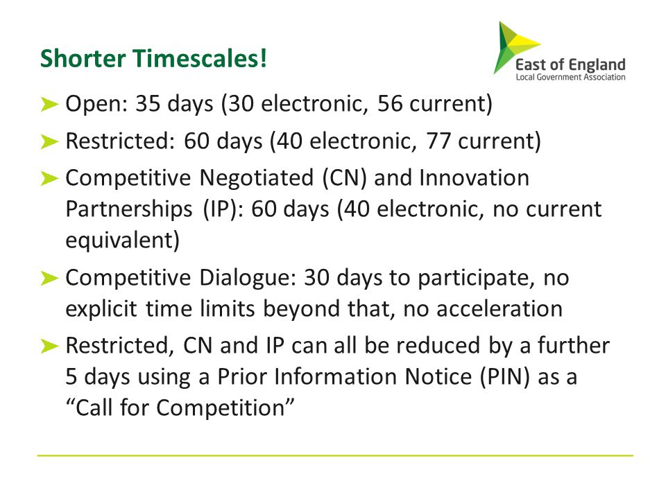 Shorter Timescales! Open: 35 days (30 electronic, 56 current) Restricted: 60 days (40 electronic, 77 current) Competitive Negotiated (CN) and Innovati