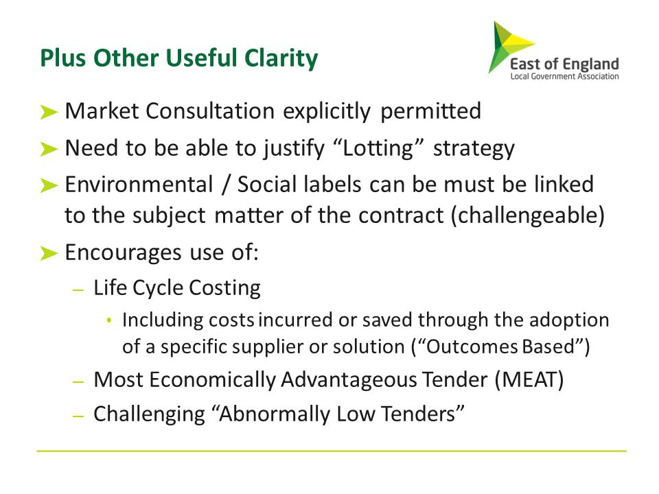 """Plus Other Useful Clarity Market Consultation explicitly permitted Need to be able to justify """"Lotting"""" strategy Environmental / Social labels can be"""